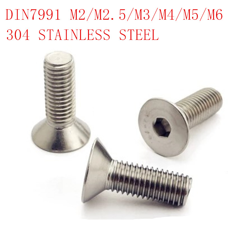 50pcs DIN7991 M2 m2.5 m3 m4 20pcs m5 m6 Stainless steel Allen hex socket countersunk head screw 50 pieces metric m4 zinc plated steel countersunk washers 4 x 2 x13 8mm