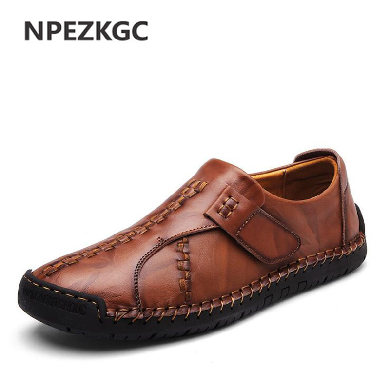 NPEZKGC Casual Shoes Brand Fashion Autumn Men Loafers High Quality Genuine Leather Shoes Men Flats Shoes dxkzmcm genuine leather men loafers comfortable men casual shoes high quality handmade fashion men shoes