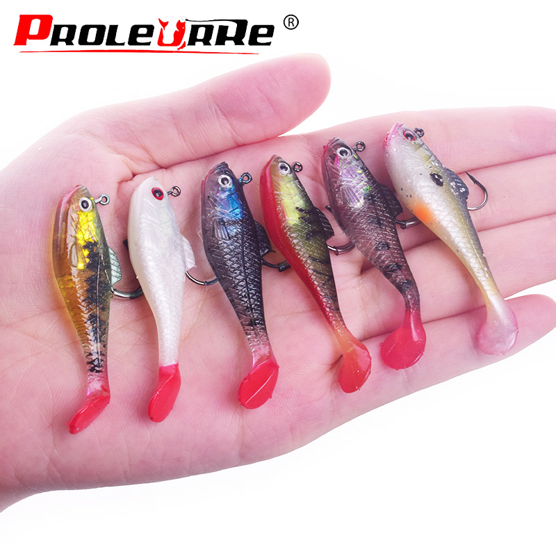 Proleurre Jigging Soft Bait Fishing Lures 80mm/11.5g 50mm/3.5g Lead Head Jig Fish Swimming T Tail Sea Bass Lure Fishing Tackle