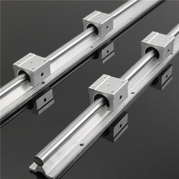 2Pcs SBR16-750MM Rails 16mm Linear Support Bearing Rail +4 Slide Blocks CNC SBR16UU for DIY CNC routers