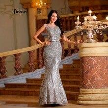 Finove Argento Lunghi Abiti di Promenade 2019 New Riflettente Dress  Elegante Mermaid Dress Scoop Neck Paillettes e64a93ce24a