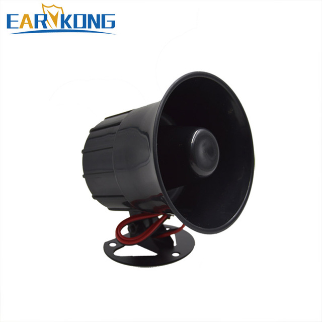 Free shipping High decibel 12v Anti-theft alarm Horn FOR family security alarm system Black high-pitched alarm loud horn