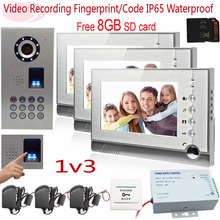 Sunflowervdp Fingerprint Video Intercom With Video Recording Free 8GB SD Card IP65 Waterproof Door Video Doorphones For 3 Houses