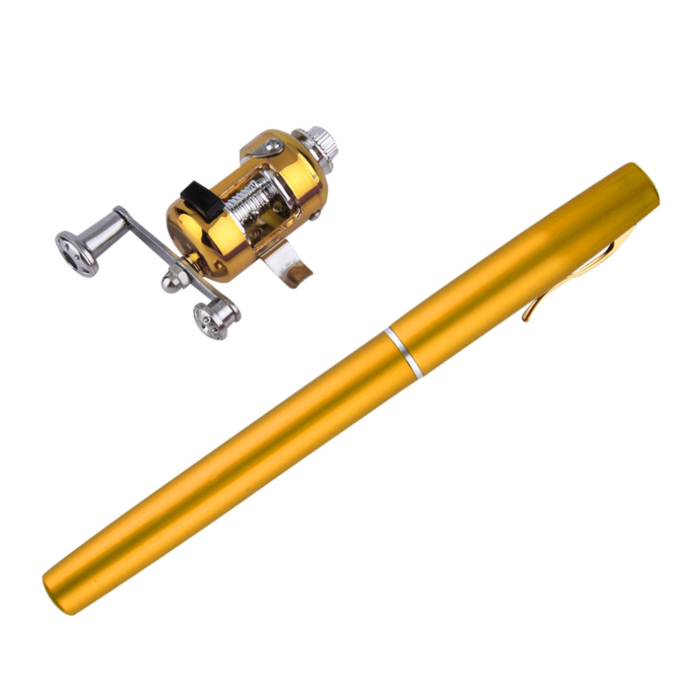 1 unid Mini aleación de aluminio Portable Pocket Pen forma de los pescados pesca Rod poste con carrete envío gratis