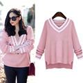 2017 Women's Winter Sweaters Knitted Pullovers Pink Loose Sweater V neck Casual Long Sleeve Winter Sweaters For Women