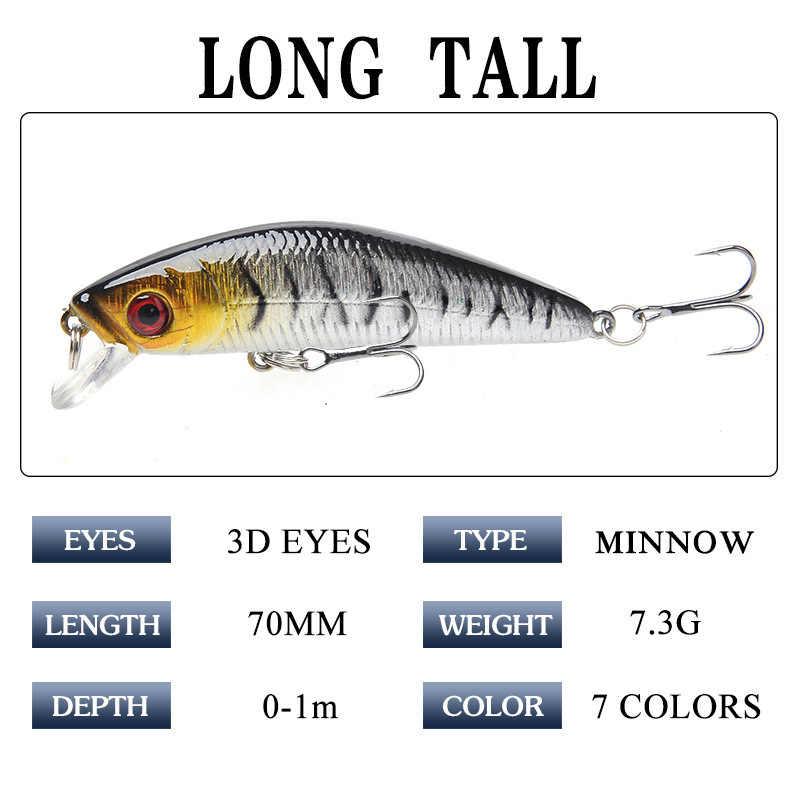 Berjalan Kaki Memancing 1Pcs 7 Cm 7.3G Popper Umpan Pancing 3D Mata Umpan Crankbait Wobblers Isca Buatan Jig Pesca jepang Fishing Tackle