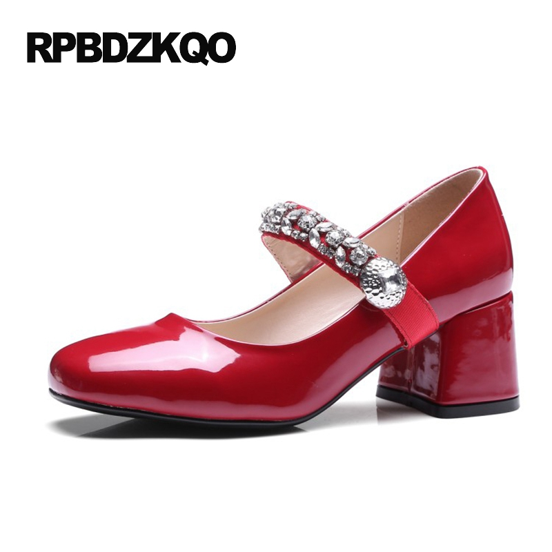 Medium Japanese Square Toe Pumps Red Size 4 34 Diamond Strap Mary Jane 2017 Rhinestone Chunky Patent Leather High Heels Crystal fashion pumps elegant metal size 4 34 women medium square toe female chunky wine red patent leather shoes new 33 modern china