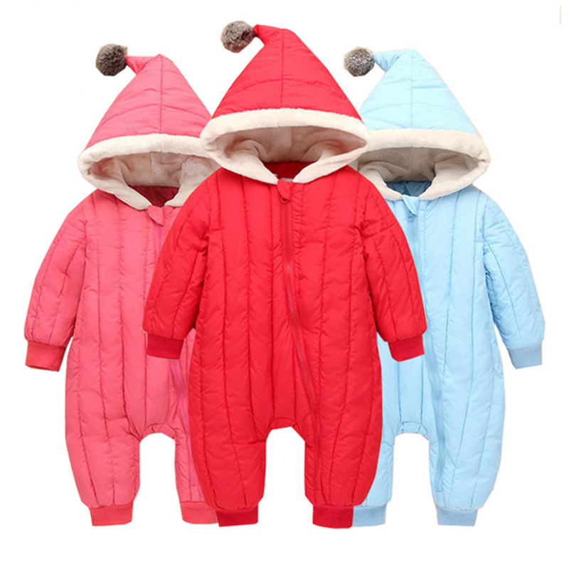 0-24M Warm baby romper boys Snowsuit baby jumpsuit winter romper hoodies newborn baby girl clothes overalls infant one-pieces puseky 2017 infant romper baby boys girls jumpsuit newborn bebe clothing hooded toddler baby clothes cute panda romper costumes