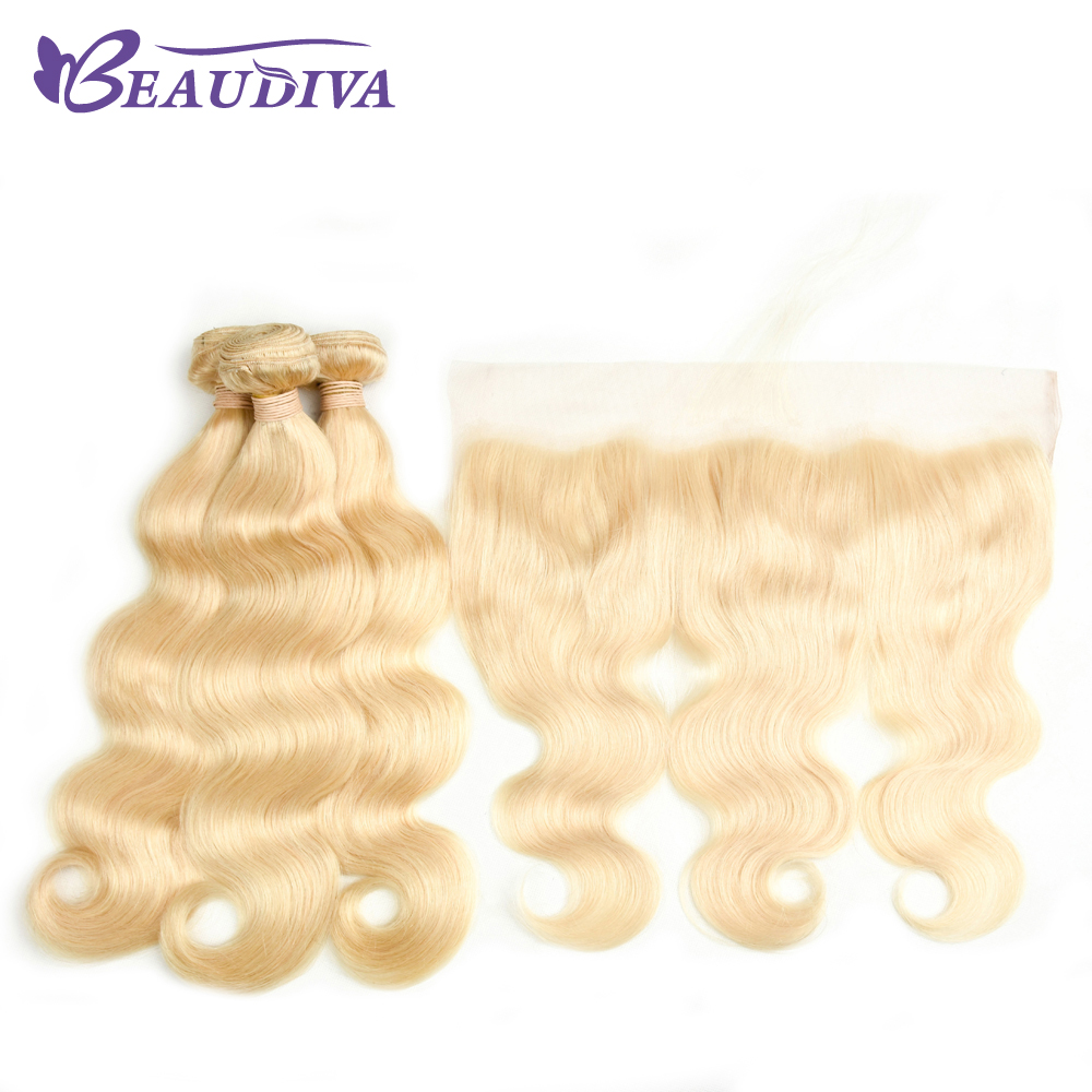 Beaudiva 613 Blonde Bundles With Frontal Closure Brazilian Body Wave Remy Human Hair 3 Bundles With