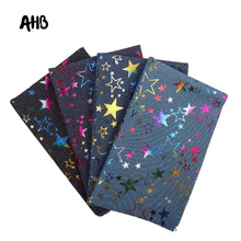 AHB 40*50CM Soft Denim Fabric Colorful Foil Stars Fabric Sewing Quilt Cowboy Handmade Crafts Fabric DIY Clothes Bags Materials cheap ALLIGATORHAIRBOWS Woven Breathable None Tricot 40CM*50CM Other Fabric 100 Polyester Plain Dyed 4 colors available 50cm*40cm