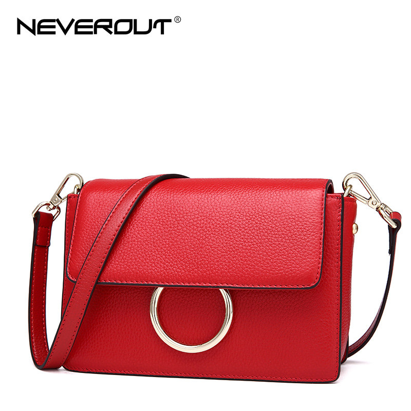 NEVEROUT Women Small Genuine Leather Shoulder Bag Candy Color Crossbody Bags Solid Casual Shoulder Sac Handbags Black/Red/Taro все цены