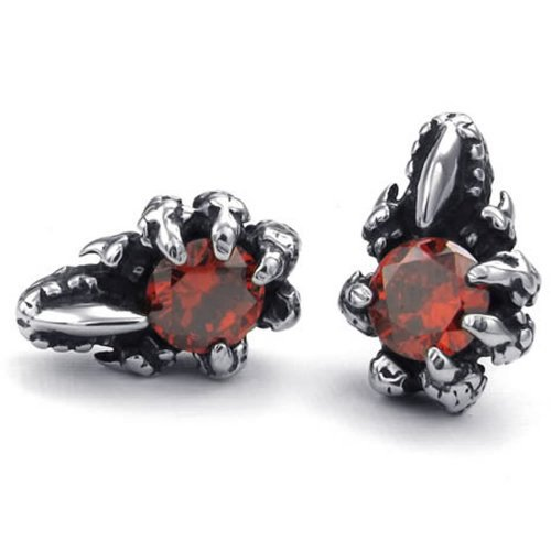 Mens Cubic Zirconia Stainless Steel Gothic Dragon Claw Stud Earrings, Red Silver