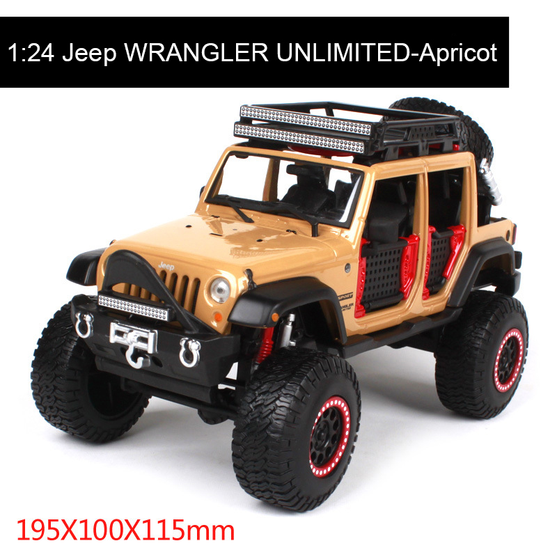 1:24 diecast Car Jeep WRANGLER UNLIMITED Diecast Model Metal SUV Vehicle Play Collectible Models Off Road Vehicle toys For Gift 1 18 scale red jeep wrangler willys alloy diecast model car off road vehicle model toys for children gifts collections