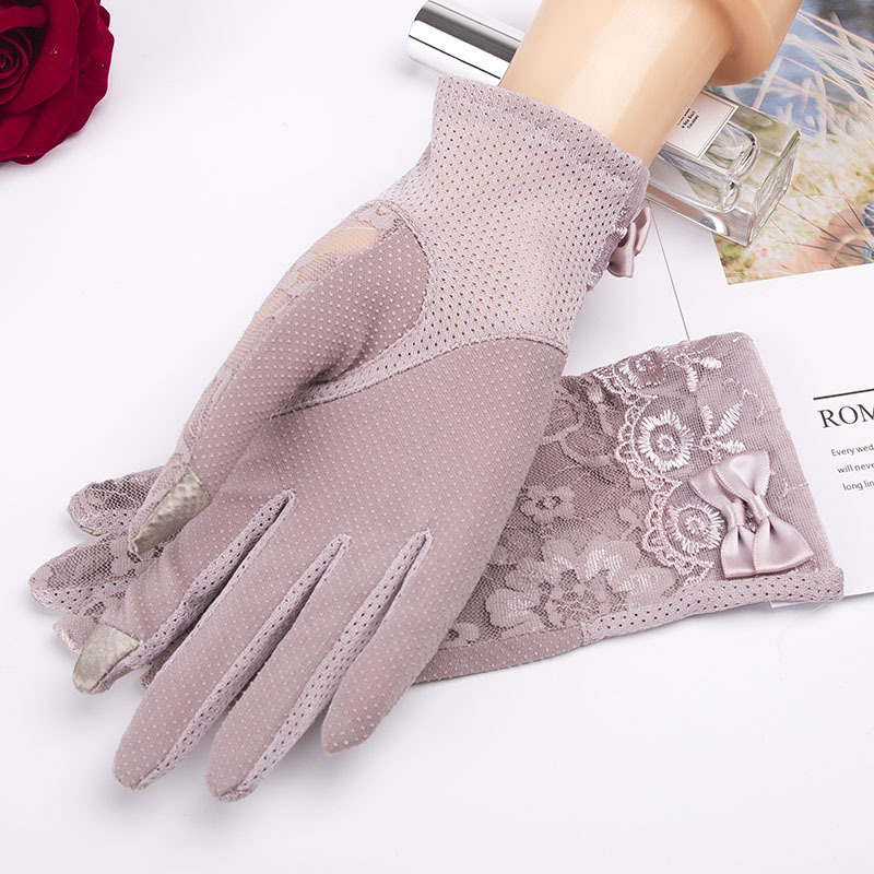 Lace Summer Sun Short Wrist Gloves Spring Fashion Touch Screen UV Sunscreen Car Driving Gloves Party Guantes Mujer Women Gloves