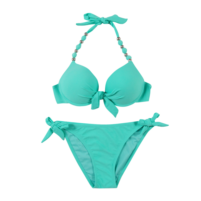 Bikini push up triangle swimsuit swimwear women bikinis set pants side lacing high elastic 19 9