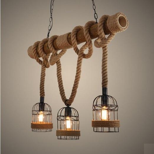 Loft Style Rope Bamboo Tube Droplight Edison Pendant Light