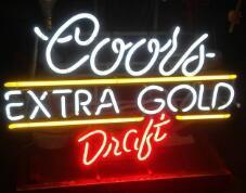 Coors Extra Gold Draft Glass Neon Light Sign Beer Bar Custom Made