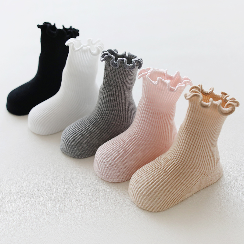 Girl Boy Baby Socks Solid Infant Knee High Cotton Socks Autumn Winter War Good