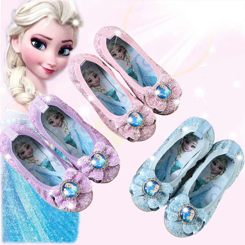 Frozen2 Kids Girls Elsa Princess Fancy Party Acrylic bow-knot Sequins Elsa Shoes