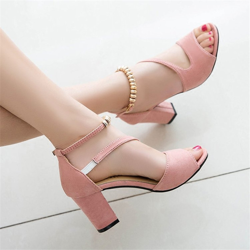 2019 spring <font><b>sexy</b></font> fish mouth hollow Roman sandals thick with a word with beaded high heels female summer <font><b>Sexy</b></font> female sandals x25 image