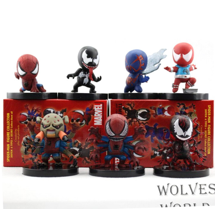 7pcs/set Spiderman Venom Action Figures PVC brinquedos Collection Figures toys for christmas gift Retail box 6pcs set alien vs predator mini classic predator pvc brinquedos collection figures toys with retail box anno00395a