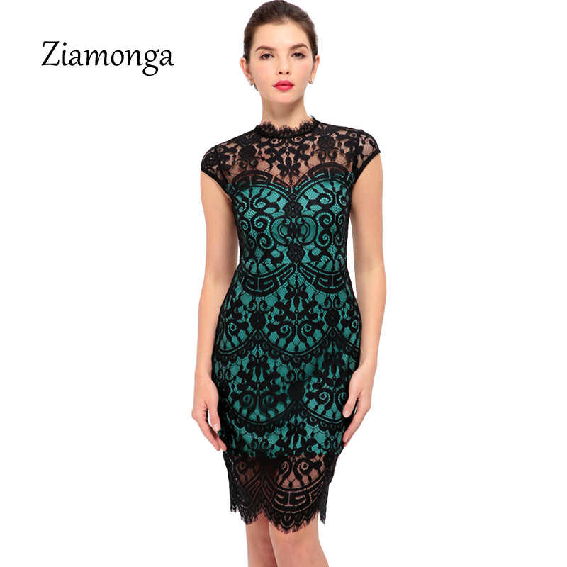 Ziamonga Elegant Women Short Sleeve Stretchy Bodycon Dress Sexy Cocktail  Party Casual Lace Dress Vestido De bb9f20b62b1a