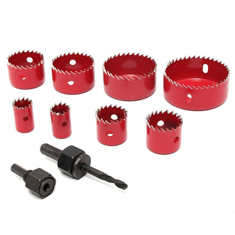 AYHF-8 Pcs Wood Alloy Iron Cutter Bimetal Hole Saw Drill Bit Kit with Hex Wrench Red high quality 50mm concrete cement wall hole saw set with drill bit 200mm rod with wrench