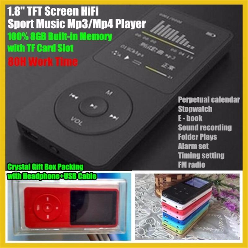 80 H Arbeitszeit Attraktive Designs; Treu 1,8 tft-bildschirm 8 Gb Hifi Sport Musik Mp3-player Mit Tf/sd Card Slot Kopfhörer Recorder Fm Kristall Box Usb-kabel