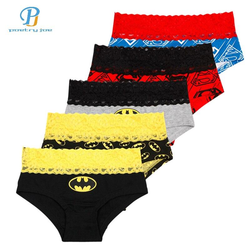 5pcs/lot N Women Underwear Briefs Classic Cartoon Printed Cotton Lace Couple Triangle Underpants Sexy   Panties   Women