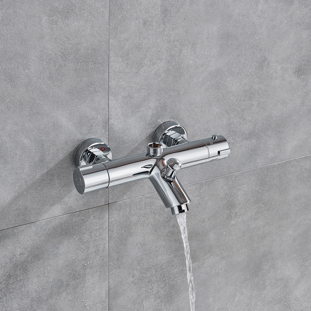 fmhjfisd Bathtub Shower Faucet Thermostatic Valve Wall Mounted Dual Handle Auto-Thermostat Control Valve Bath Tap for Bathroom