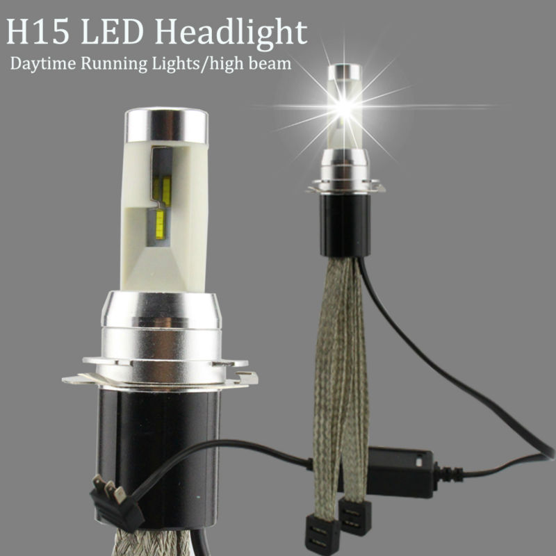 R4S H15 LED Headlight Daytime Running <font><b>Lights</b></font>/high beam 30W Car Headlights 4800LM 6000K Bulb TX Automotive Chip <font><b>Conversion</b></font> Kit