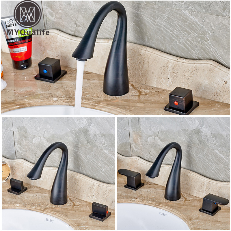Newly Widespread Waterfall Bathroom Basin Faucet Deck Mounted 3 Holes Mixer Taps oil Rubbed Bronze Finish luxury widespread 3 holes basin faucet tap deck mount oil rubbed bronze bathroom mixer taps