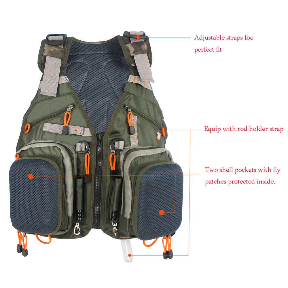 Новый Регулируемый мужской жилет для нахлыстовой рыбалки пакет многофункциональные карманы охота на открытом воздухе сетчатый жилет рюкзак рыболовный аксессуар сумка