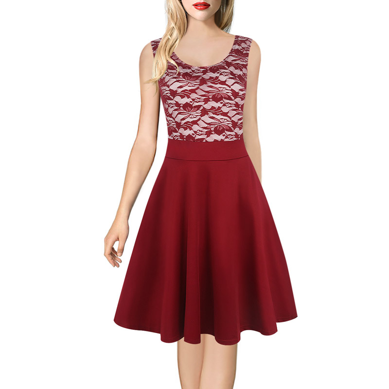 04b7675b3eac Womens Vintage 50s Latin Dance Dress Summer Flared Sleeveless High Waist  Ladylike Midi Lace Burgundy Pleat