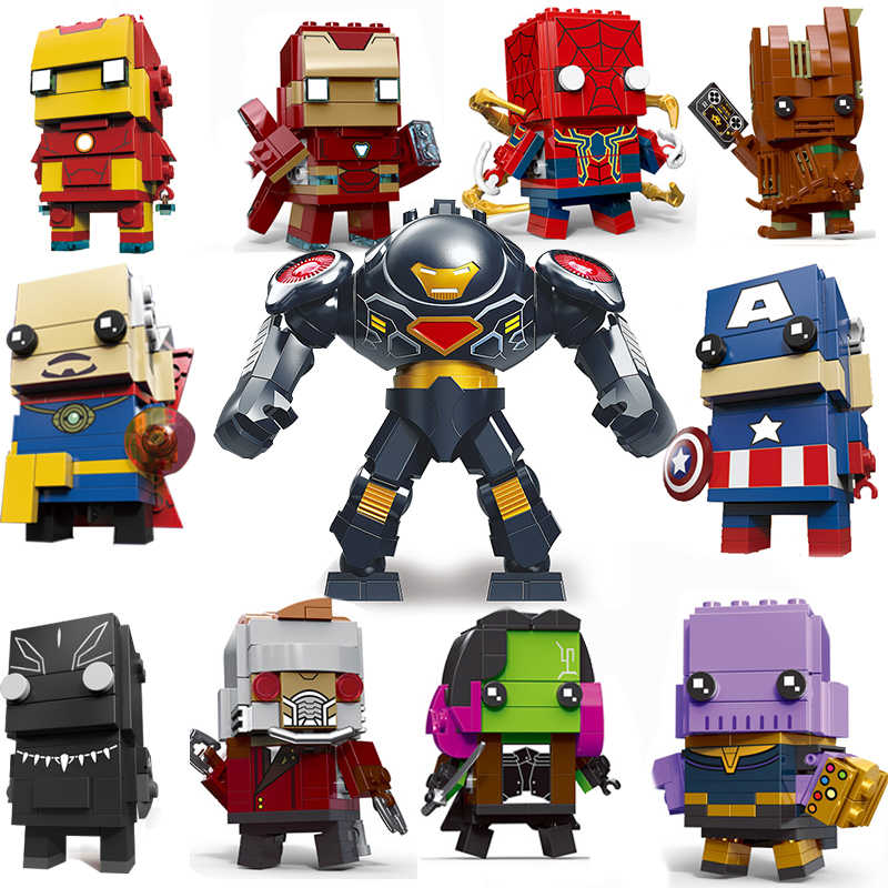 Decool Compatible legoed brickheadz avenger 3 Infinity War Marvel super hero Guardians brick heads headz building block sets