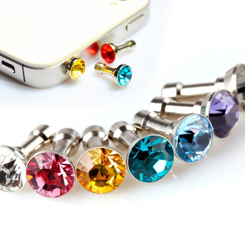 POMER 100pcs/lot Cell Phone Universal 3.5mm Anti Dust Earphone Jack Cap Crystal Bling Me ...