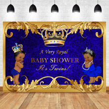 Boy and Girl Twin Baby Shower Backdrop Royal Blue Twins Photography Background Prince Princess Banner Backdrops
