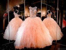 2019 Sparkly Ball Gown Beaded Crystal Quinceanera Dresses Sweetheart Keyhole Lace-up Back Ruched Tulle Long Prom Pageant Dress