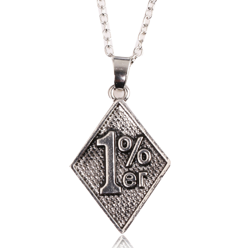 Retro Engraving 1% er Rhombus Tag Necklace Mathematical Genius Necklace Exotic special Necklace