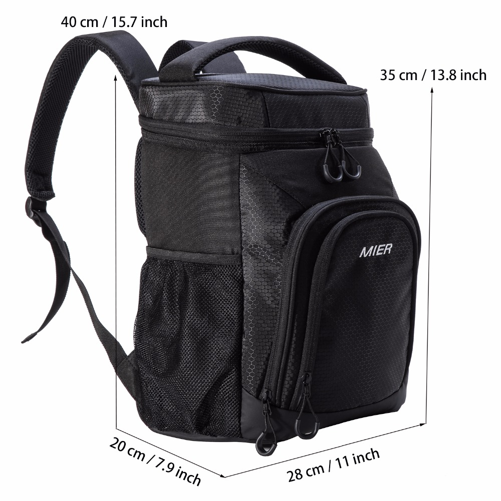 Travel Beach Park or Day Trips Black Hiking Leakproof MIER 24 Can Insulated Backpack Cooler Large Soft Lunch Backpack for Picnic
