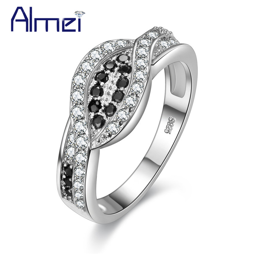Engagement Rings Women Vintage Black and White Crystal Silver