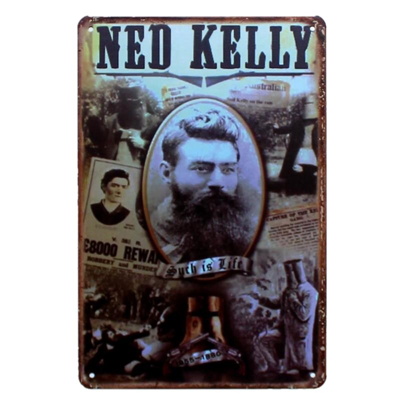 Ned Kelly Metal Movie Painting Tin Tanda Gambar Dinding untuk Hotel - Hiasan rumah - Foto 4