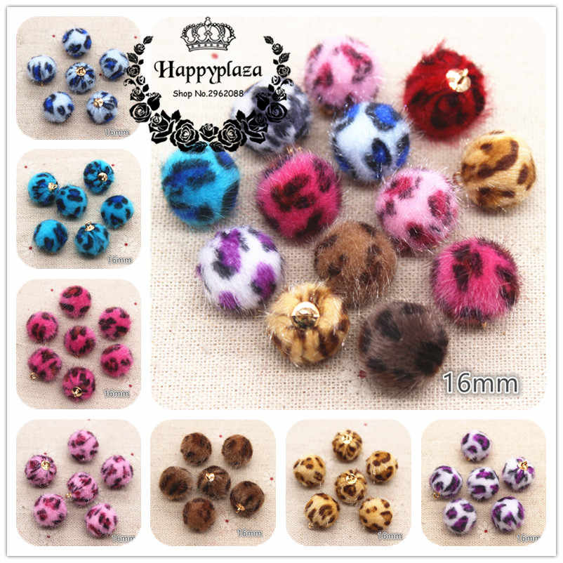 20pcs 16mm Mix Colors Leopard Hariy Fabric Covered Round Bead Ball Pendant Home Garden Cabochon Crafts Jewelry DIY
