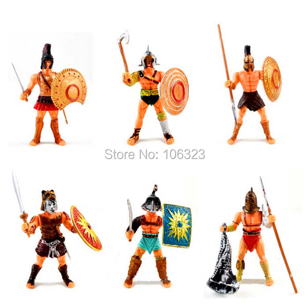 Cool Action Toy Figures, 6 pcs Gladiator of Rome with Weapon, Roma Ancient Middle Century Military Solider Model Set, Boys Gift new very cool action toy figures 6 pcs orcs with weapon ancient military solider model set diy assembly half orc model puppet