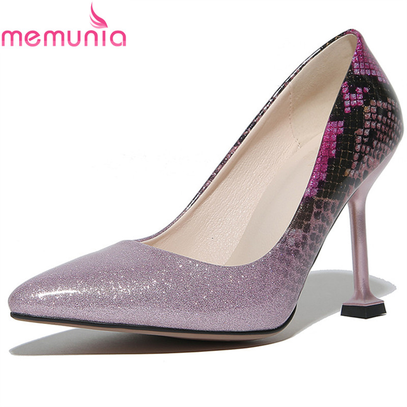 MEMUNIA new arrive women pumps fashion pointed toe super high spring autumn single shoes ladies wedding party  high heels shoes moonmeek new arrive spring summer female pumps high heels pointed toe thin heel shallow party wedding flock pumps women shoes