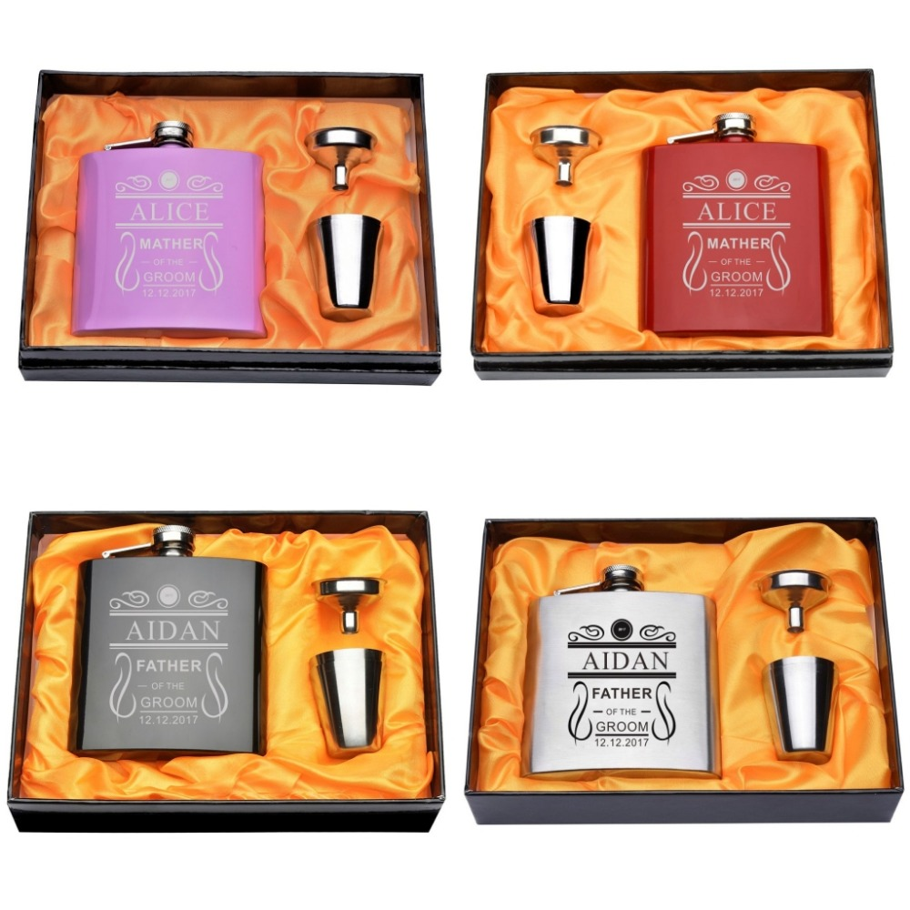 A Set Engraved Stainless steel 6oz Why so Sober Hip Flask Set Bridemaids & Groom man Parents Wedding Indoor Party Gifts Decors