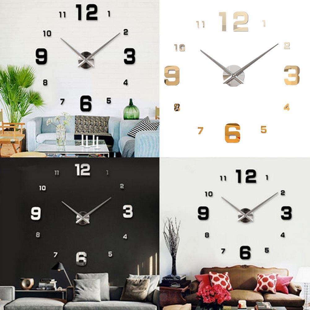 Black Fashion 3D Big Size Wall Clock Mirror Surface Stickers DIY ...