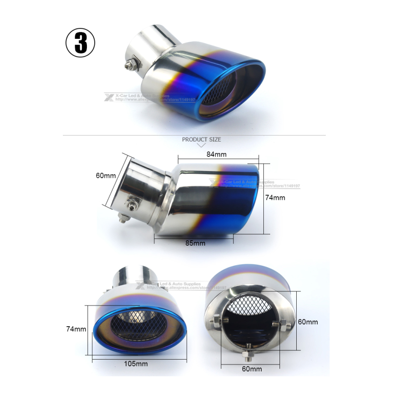 Image 4 - Car Auto Round Exhaust Muffler Tip Stainless Steel Pipe Chrome Trim Modified Car Rear Tail Throat Liner Exhause Car Styling-in Mufflers from Automobiles & Motorcycles