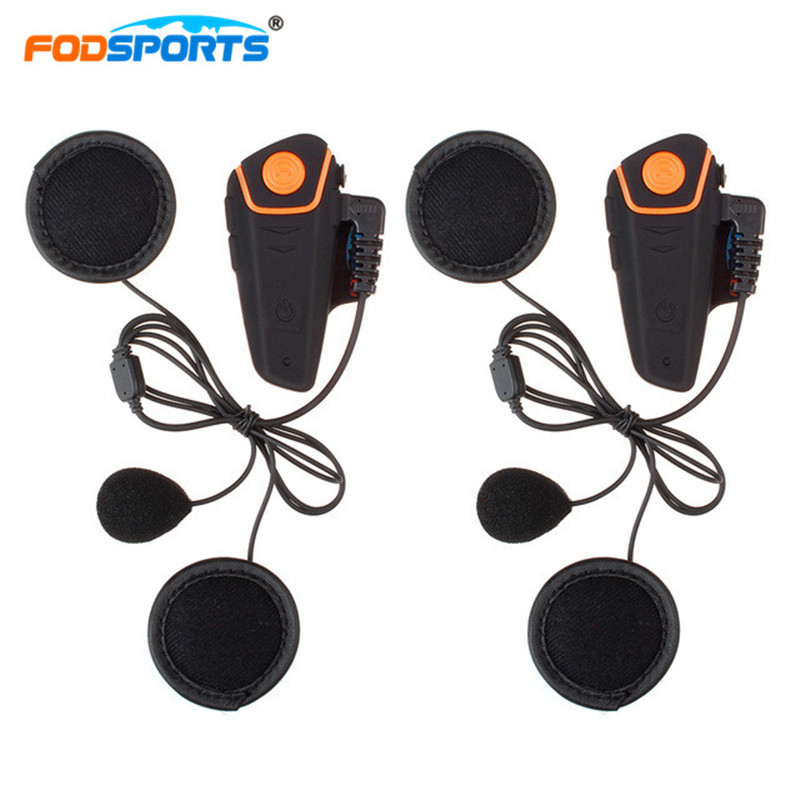 2 pièces Fodsports BT-S2 Interphone Casque Casques Russie Stocks Moto Étanche Interphone Bluetooth 3.0 Avec Radio FM