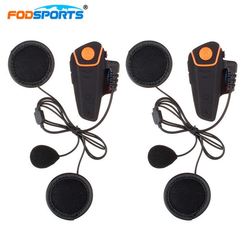 2pcs Fodsports BT-S2 Intercom Helmet Headsets Russia Stocks Motorcycle Waterproof Interphone Bluetooth 3.0 With FM Radio